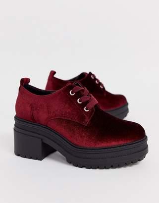 Asos Design DESIGN Survivor chunky mid-heels in burgundy velvet-Red
