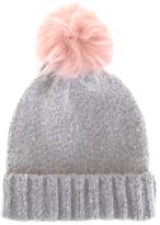 Mint Velvet Brushed Texture Pompom Hat, Silver Grey/Baby Pink