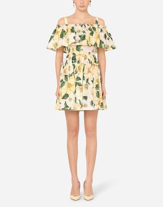 Dolce & Gabbana Short Camellia-Print Poplin Dress