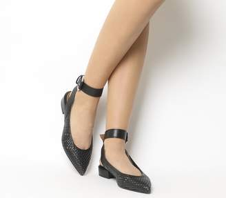 Office Fusion Weave Point Ankle Strap Flats Black Woven Leather