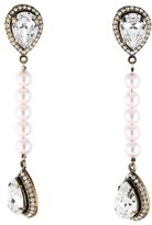 Valentino Pearl & Crystal Clip-On Drop Earrings