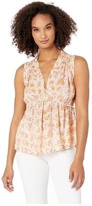 Lucky Brand Sleeveless Romantic Ruffle Top (Pink Multi) Women's Clothing