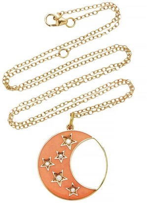 Andrea Fohrman Large Enamel and Diamond Waning/Waxing Gibbous Phase of the Moon Necklace