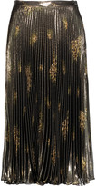 Suno Pleated metallic printed silk-blend midi skirt
