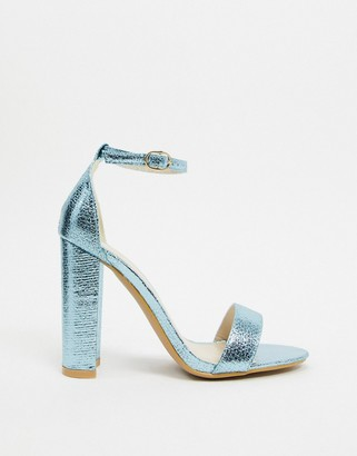Glamorous barely there block heels in blue metallic