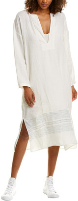 James Perse Pull-On Stripe Linen Midi Dress