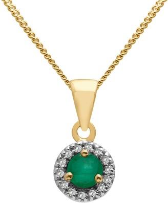 A B Davis 9ct Gold Precious Stone and Diamond Round Pendant Necklace