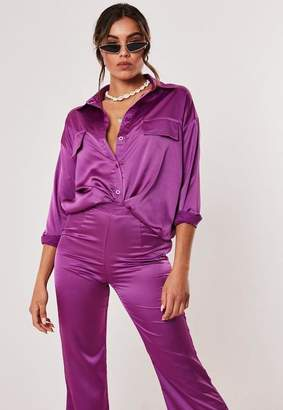 Missguided Petite Purple Co Ord Satin Oversized Shirt