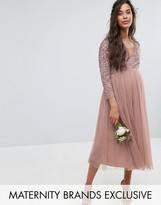 Maya Maternity 3/4 Sleeve Midi Dress With Delicate Sequin And Tulle Skirt