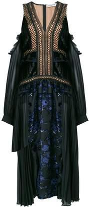 Self-Portrait floral devoré cold shoulder dress