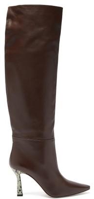 Wandler Lina Printed-heel Knee-high Leather Boots - Womens - Brown
