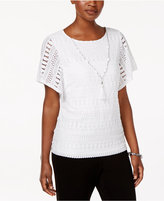 Alfred Dunner Petite Corsica Textured Necklace Top