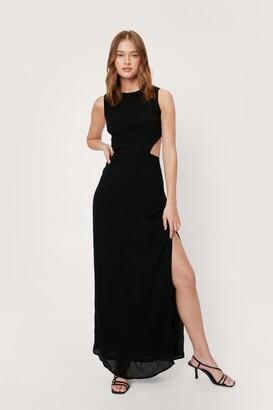 Nasty Gal Womens Cotton Racerback Split Hem Maxi Dress - Black - 4
