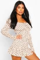 boohoo Petite Polka Dot Volume Sleeve Ruched Dress