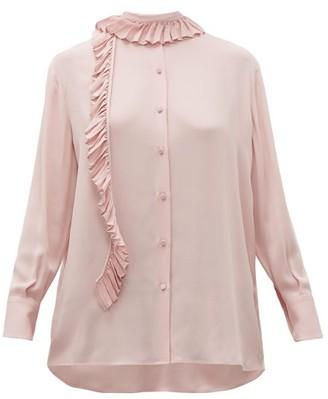 Valentino Ruffle-trim Silk Georgette Blouse - Pink