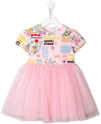 Simonetta printed top tulle dress