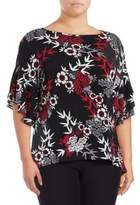 Jones New York Plus Floral Bell Sleeve Blouse