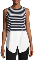 Neiman Marcus Sleeveless Layered Striped Top, Blue/White