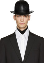 Kokon To Zai Black Faux-Leather Short Bowler Hat