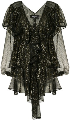 DSQUARED2 Lame-Effect Semi-Sheer Ruffle Blouse