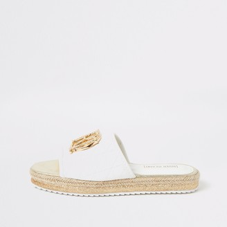 River Island Girls White quilted RI mule sandals