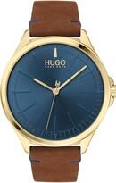 BOSS HUGO Smash Leather Strap Watch, 43mm
