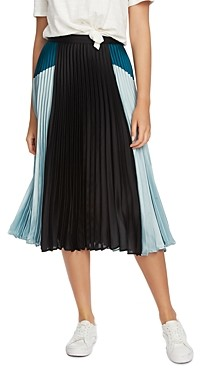 1 STATE Color-Block Pleated Skirt