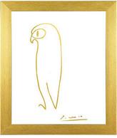 "Buyartforless Framed, Pablo Picasso Owl Imitation In Gold by Kelissa Semple, 11""x14"""