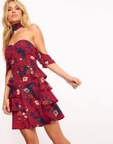 PrettyLittleThing Choker Frill Mini Dress
