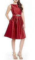 Eliza J Beaded Belt Midi Fit-and-Flare Dress