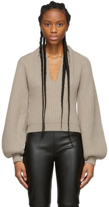 Alexander Wang Beige Wool Draped Neck Sweater