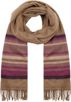 Johnstons of Elgin Beige and Fuchsia Muted Stripe Cashmere Scarf