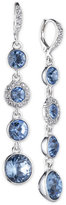 Givenchy Silver-Tone Blue Crystal Linear Drop Earrings