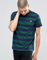 Fred Perry T-Shirt With Stripes In Ivy /Carbon Blue