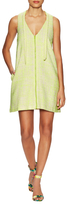 Ava & Aiden Tweed V-Neck Zip Front Shift Dress