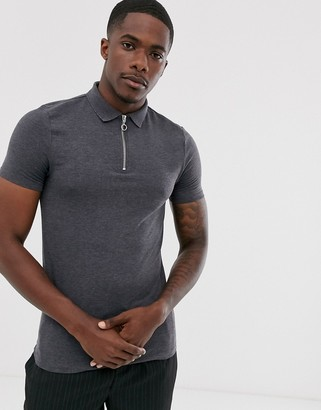 Asos Design DESIGN organic muscle fit jersey polo with zip neck in grey