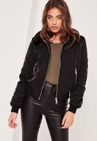 Missguided Petite Black Faux Fur Collar Bomber Jacket