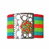 "Mishky Dream Catcher"" Plated Mesh Glass Seed Beaded Cuff Bracelet, Adjustable"