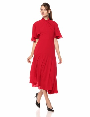 Maggy London Women's Novelty Crepe Twist Neck Dress with unevent Hem Detail