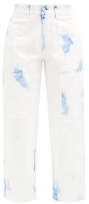 Stella McCartney Tie-dye Cropped Jeans - White Blue