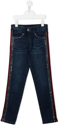 MonnaLisa Rhinestone-Embellished Skinny Jeans