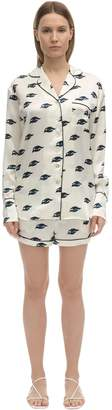 Olivia von Halle Alba Eye Print Silk Short Pajama Set