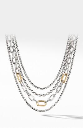 David Yurman 4-Row Mixed Chain Bib Necklace with 18K Yellow Gold