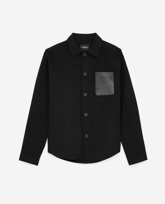 The Kooples Black wool shirt with leather pocket