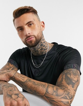 SikSilk iridescent tech t-shirt in black