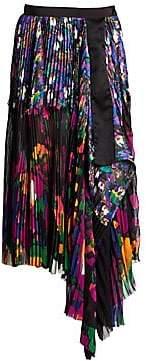 Sacai Women's Pleated Floral Midi Skirt