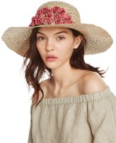Aqua Straw Floppy Sun Hat with Rosette Trim - 100% Exclusive