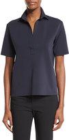Helmut Lang Short-Sleeve Scuba Polo Shirt, Navy