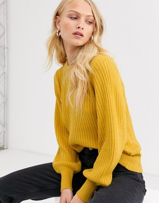 Selected ribbed jumper with balloon sleeve