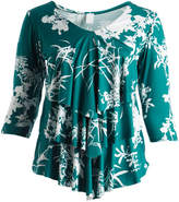 Glam Green & White Floral Ruffle Scoop Neck Top - Plus